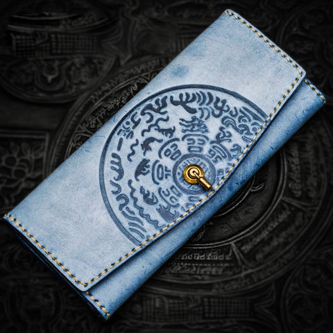 Handmade Leather Tooled Blue Women Envelope Vintage Leather Wallet Long Phone Clutch Wallets for Women