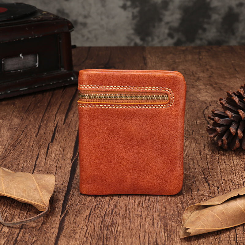 Vintage Brown Leather Womens Bifold Small Wallet Zipper Vertical Wallet for Women