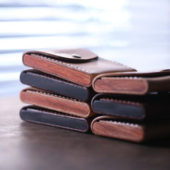 Cool Coffee Wooden Leather Mens Wallet Small Card Holder Coin Wallet for Men