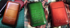 Red Leather Mens Cigarette Holder Case Vintage Custom Cigarette Case for Men