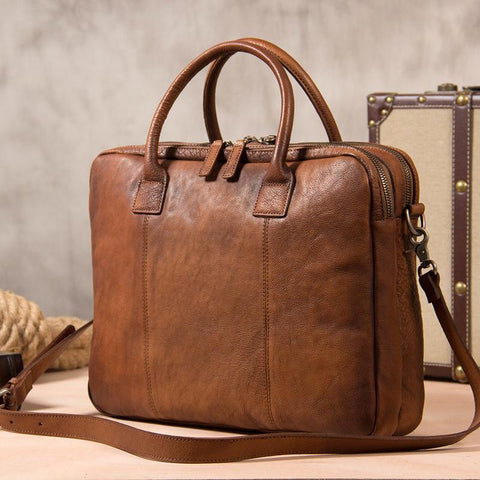 Vintage Leather Mens Brown Briefcase Work Bag Laptop Bag Business Bag for Men