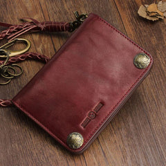 Genuine Leather Mens Chain Biker Wallet Cool Leather Wallet Small Wallets for Men