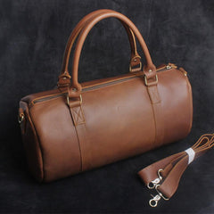 Genuine Leather Mens Bucket Bag Round Circle Bag Cool Weekender Bag Travel Bag Duffle Bags Overnight Bag Holdall Bag for men