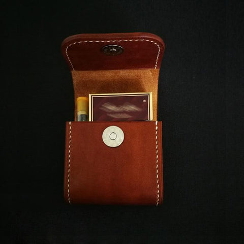 Brown Leather Mens Cigarette Case Cigarette Holder Belt Pouch with Belt Loop for Men