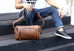Genuine Leather Mens Messenger Bag Cool Weekender Bag Travel Bag Duffle Bags Overnight Bag Holdall Bag for men