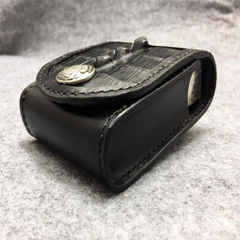 Cool Indian Black Leather Mens Cigarette Case Cigarette Holder Belt Pouch with Belt Loop for Men