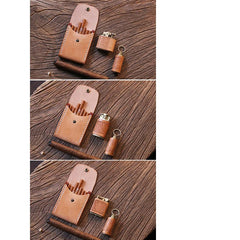 Handmade Wooden Leather Mens 7pcs Cigarette Case Cool Custom Cigarette Holder for Men