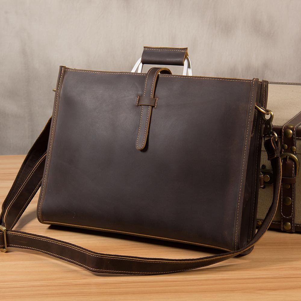 12e2ad26a8a Vintage Leather Mens Coffee Briefcase Shoulder Bags Work Bag Laptop Bag for  Men