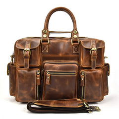 Genuine Leather Mens Vintage Brown Cool Weekender Bag Large Travel Bag Briefcase for men