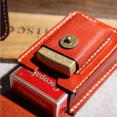 Cool Leather Mens Cigarette Case with Belt Loop Zippo Lighter Holder for Men