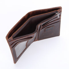 Vintage Mens Wallet Short Slim Bifold Wallet Genuine Leather Card Wallet for Men