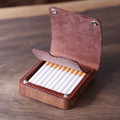 Handmade Wooden Coffee Leather Mens 7pcs Cigarette Case Cool Custom Cigarette Holder for Men