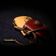 Handmade Leather Short Biker Wallet Mens Cool Car Key Wallet Pouch Car KeyChain for Men