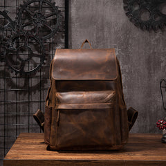 Vintage Leather backpack Black Brown for men Distressed  Travel Bag