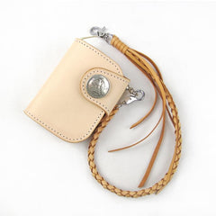 Handmade Leather Small Biker Chain Wallets Mens Cool Short Chain Wallet