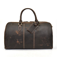 Cool Leather Mens Weekender Bag Vintage Coffee Travel Bag for men
