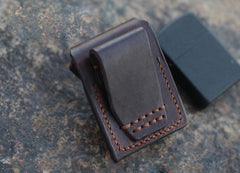Handmade Cool Mens Leather Zippo Lighter Cases with Loop Zippo lighter Holder with clips