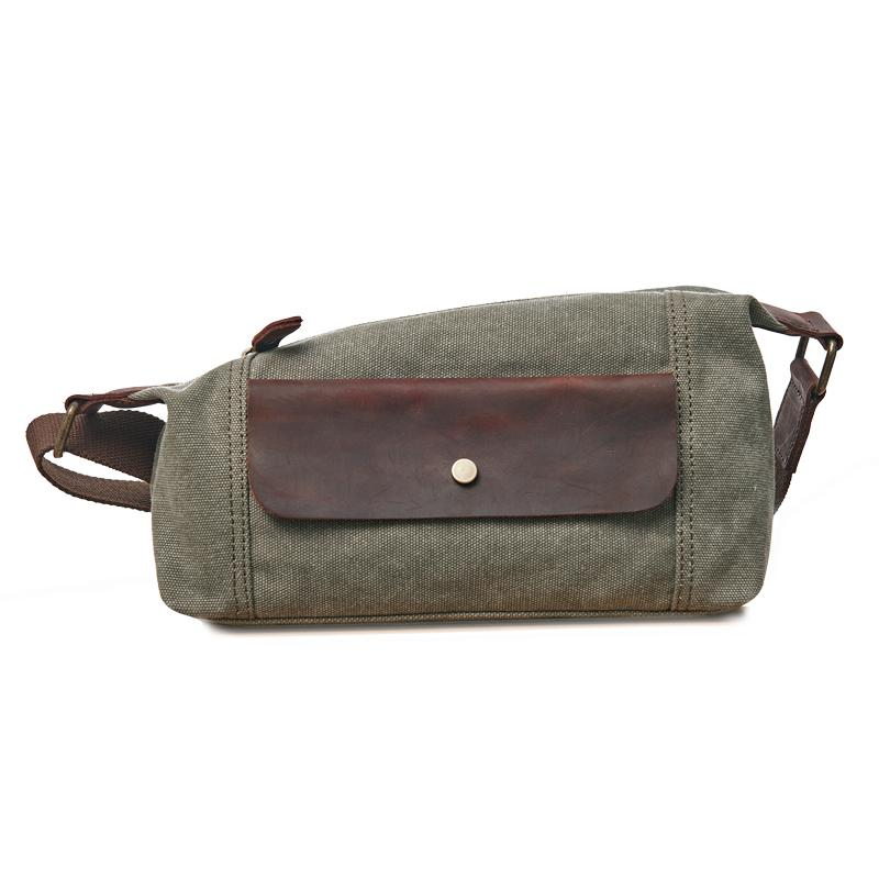 Cool Canvas Leather Mens Sling Bag Chest Bag One Shoulder Pack for men
