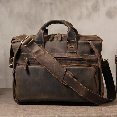 Vintage Leather Mens Coffee Briefcase Shoulder Bag Work Bag Laptop Bag for Men