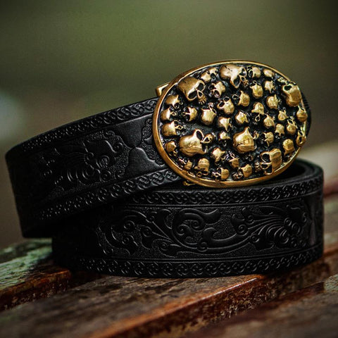 Handmade Genuine Leather Skull Mens Belt Custom Cool Leather Men Black Belt for Men