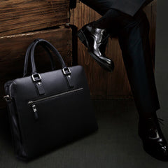 Cool Leather mens Briefcase laptop Briefcase Work Shoulder Bag Business Bag for Men