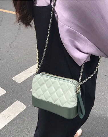 Green Leather Women Chain Shoulder Bag Wristlet Bag For Women