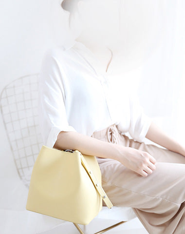 Yellow Cute LEATHER WOMENs Bucket Handbags SHOULDER Purse FOR WOMEN