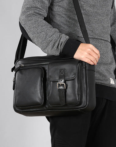 Black Leather Mens Cool Shoulder Bags Messenger Bags for men