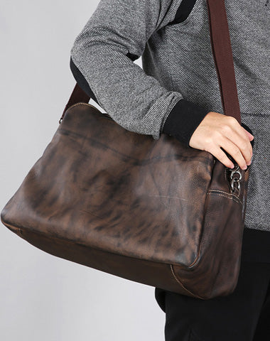 Leather Mens Travel Bag Cool Messenger Bag Shoulder Bag Handbags Weekender Bag for Men