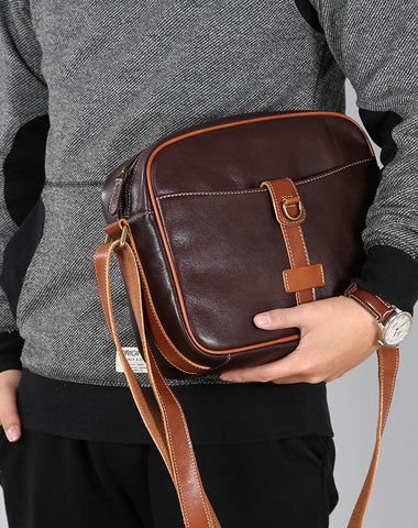 Leather Mens Cool Shoulder Bag Small Messenger Bag for men