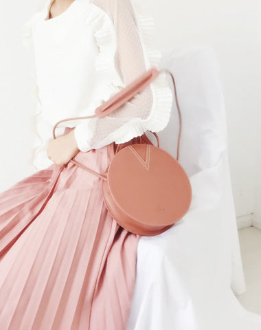 Stylish LEATHER WOMENs Circle Handbags Round SHOULDER BAG Purses FOR WOMEN
