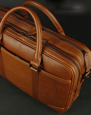 GENUINE LEATHER MEN BRIEFCASE MESSENGER LARGE VINTAGE SHOULDER LAPTOP BAG VINTAGE BAG