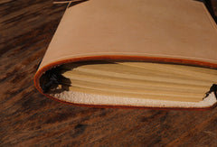 Handmade vintage retro beige custom notebook/travel book/diary/journal