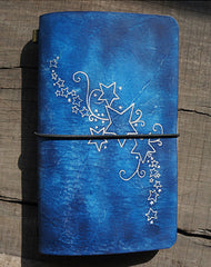 Handmade retro vintage blue stars notebook/travel book/diary/journal