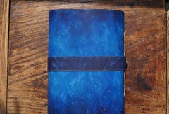 Handmade A5/A6 blue flower custom vintage notebook/travel book/diary/journal