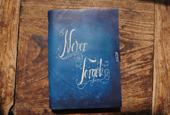 Handmade A5 vintage retro blue custom notebook/travel book/diary/journal