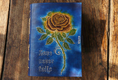 Handmade A5 vintage retro blue rose custom notebook/travel book/diary/journal