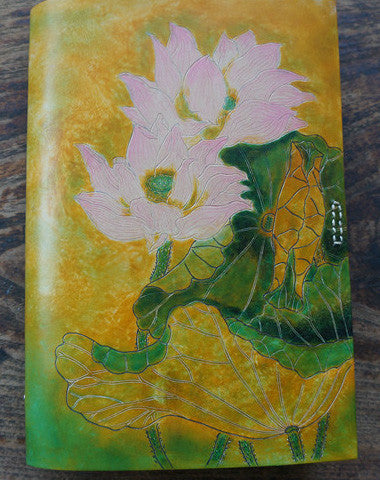 Handmade A5 vintage retro lotus flower custom notebook/travel book/diary/journal