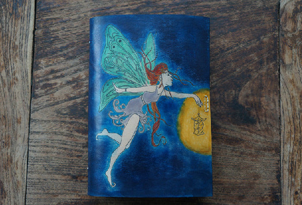 Handmade A5 vintage retro blue elfin custom notebook/travel book/diary/journal