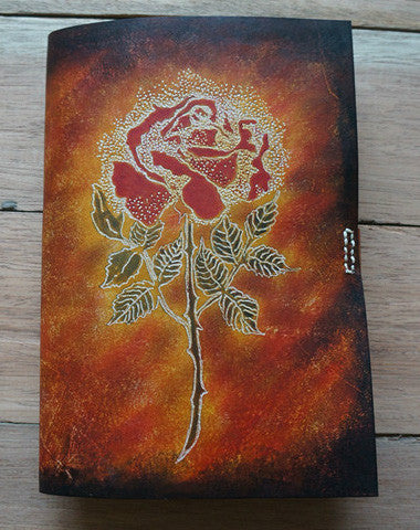 Handmade A5 vintage retro red rose custom notebook/travel book/diary/journal