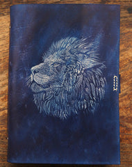Handmade A5 blue lion custom vintage notebook/travel book/diary/journal