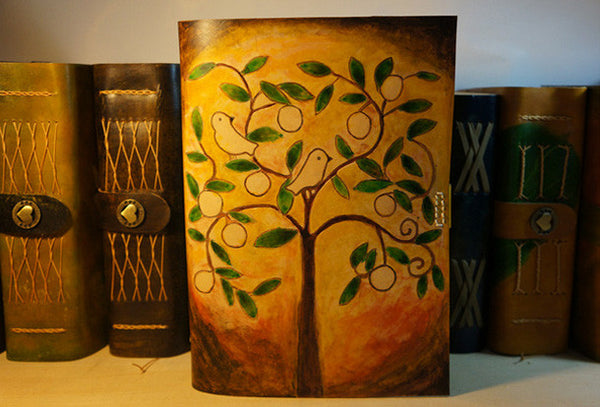Handmade A5 retro vintage tree bird custom notebook/travel book/diary/journal