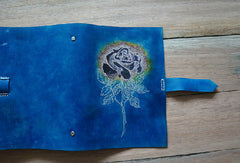 Handmade A5 blue rose custom vintage notebook/travel book/diary/journal