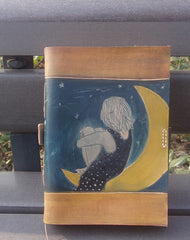 Handmade retro moon girl custom vintage notebook/travel book/diary/journal