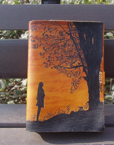 Handmade retro girl tree custom vintage notebook/travel book/diary/journal