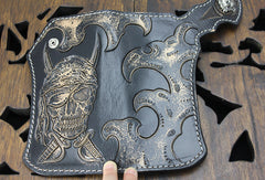 Handmade black leather punk skull pirate carved biker wallet Long wallet clutch for men