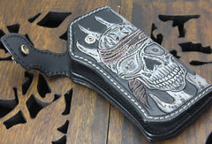 Handmade black leather punk vintage skull carved biker wallet Long wallet clutch for men