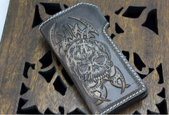 Handmade coffee leather punk Halley skull carved biker wallet Long wallet clutch for men