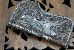 Handmade black coffee leather punk skull carved biker wallet Long wallet clutch for men