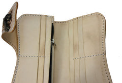 Handmade beige leather punk skull carved biker wallet Long wallet clutch for men